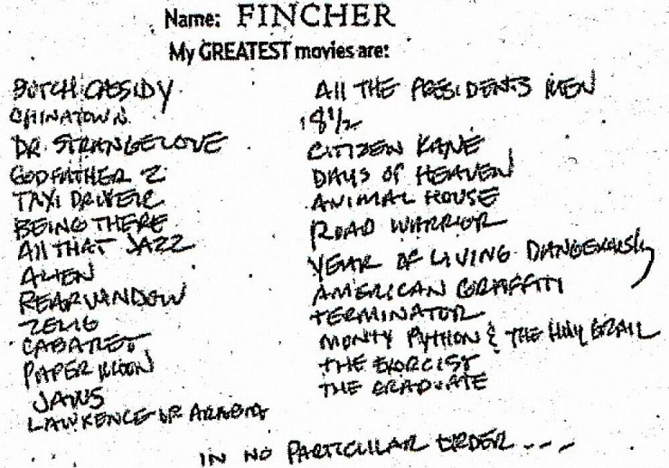 david fincher favorite films