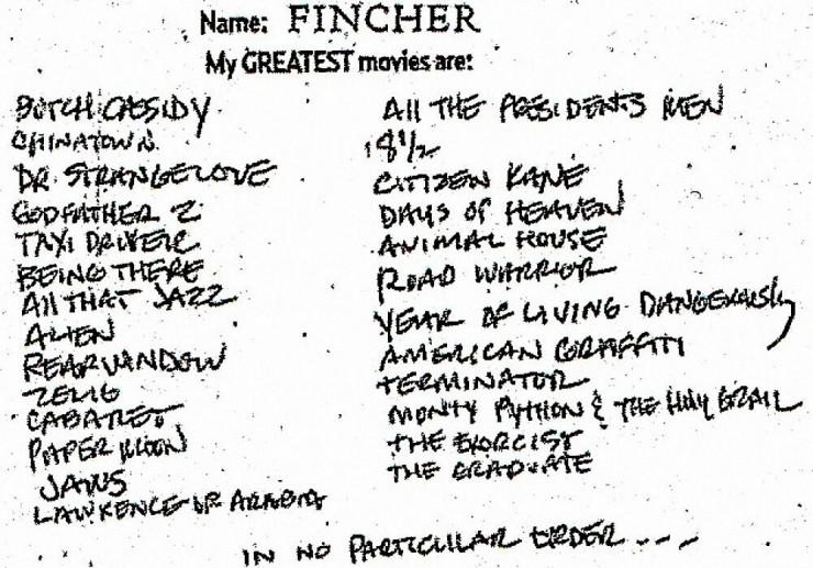 david fincher favorite films