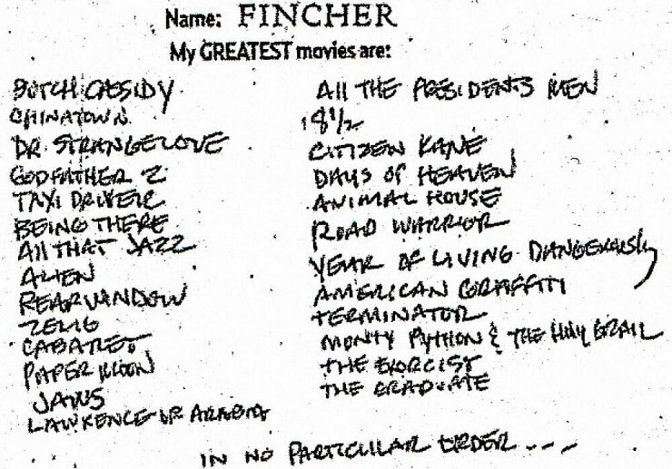 david fincher list of favorite movies