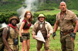 Image of Kevin Hart, Jack Black, Dwayne Johnson and Karen Gillan in Jumanji 2 Welcome to the Jungle