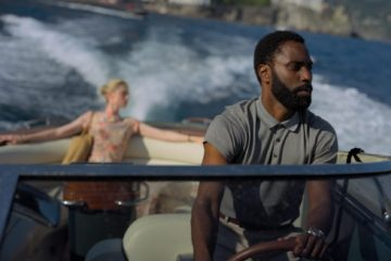 Still from Tenet - On the water - Elizabeth Debicki and John David Washington