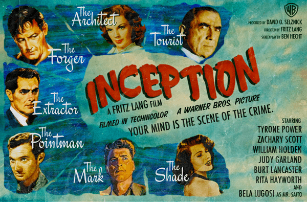 Fritz Lang, Tyrone Power, Zachary Scott, William Holden, Judy Garland, Burt Lancaster, Rita Hayworth, Bela Lugosi, Inception (2010)